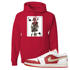Air Jordan 1 Low Spades Hoodie | Bone Cards, Red