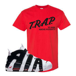 Air More Uptempo White Black Red T Shirt | Red, Trap To Rise Above Poverty