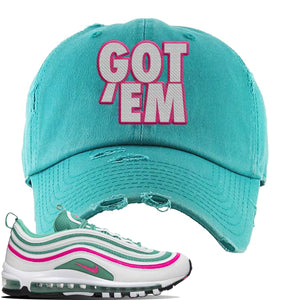 Air Max 97 South Beach Distressed Dad Hat | Got Em, Turquoise