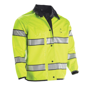 the Police Public Safety | Reversible Black and Safety Green Jacket with Reflective Stripes | Weathertech Waterproof Police Uniform Duty Jacket has silver gray grey stripes and a black collar