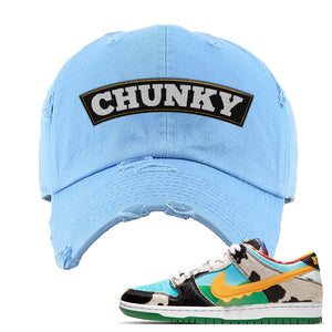 SB Dunk Low 'Chunky Dunky' Distressed Dad Hat | Sky, Chunky