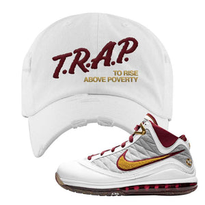 LeBron 7 MVP Distressed Dad Hat | White, Trap To Rise Above Poverty