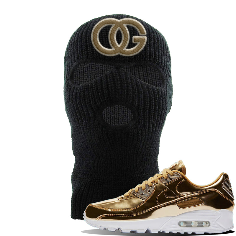 Air Max 90 WMNS 'Medal Pack' Gold Sneaker Black Ski Mask | Winter Mask to match Nike Air Max 90 WMNS 'Medal Pack' Gold Shoes | OG