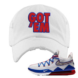 LeBron 17 Low Tune Squad Sneaker White Distressed Dad Hat | Hat to match Nike LeBron 17 Low Tune Squad Shoes | Got Em
