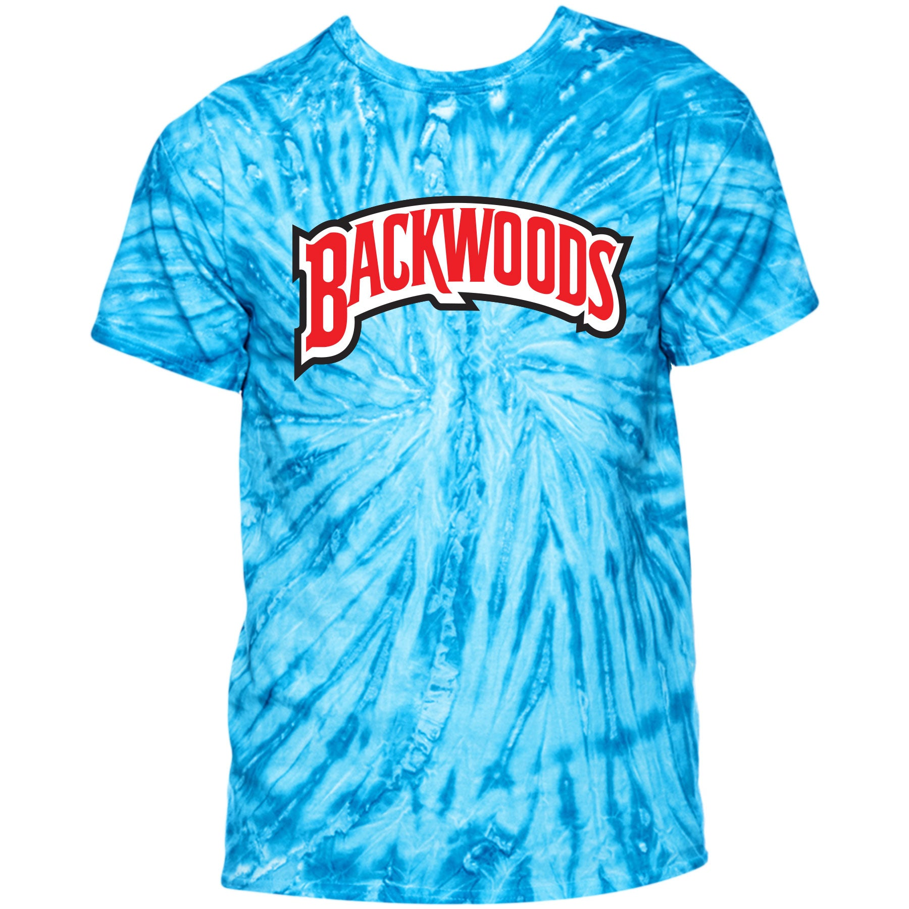 a51f1adfef2 Printed on the front of the Backwoods Vanilla Blue Tie-Dye Swirl T-Shirt