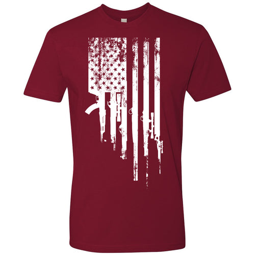 Standard Issue Gunned American Flag Cardinal Red Grunt Life T-Shirt