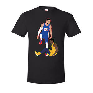 Simmons Step Over Tee Shirt | Ben Simmons Step Over Black T-Shirt the front of this hoodie has the simmons step over