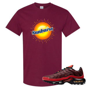 printed on the front of the air max plus sunburst sneaker matching maroon tee shirt is the sunburst soda logo
