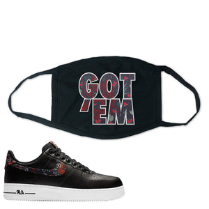 Air Force 1 Low Black Floral Face Mask | Got Em, Black