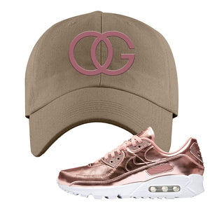 Air Max 90 WMNS 'Medal Pack' Rose Gold Sneaker Khaki Dad Hat | Hat to match Nike Air Max 90 WMNS 'Medal Pack' Rose Gold Shoes | OG