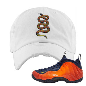 Foamposite One OKC Distressed Dad Hat | White, Coiled Snake