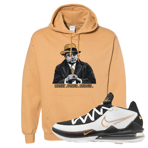Lebron 17 Low White/Metallic Gold/Black Hoodie | Old Gold, Capone Illustration