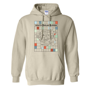 South Philly Map Pullover Hoodie | South Philadelphia Map Natural Pullover Hoodie the front of this pullover hoodie has the south philly map