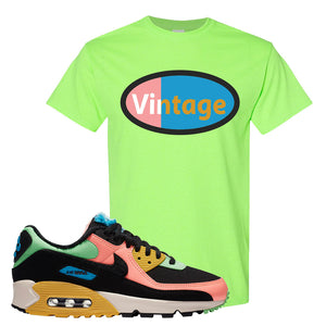 Furry Air Max 90 Bright Neon T Shirt | Vintage Oval, Neon Green