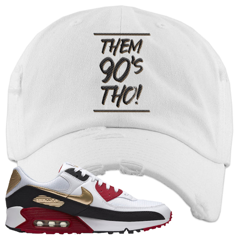 Air Max 90 Chinese New Year Distressed Dad Hat | Red, Them 90's Tho