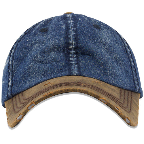 This denim distressed two-tone dad hat has a denim unstructured crown and a faux leather brown bent brim with distressing to give the hat a vintage appearance