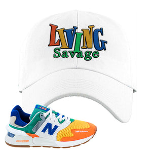 997S Multicolor Sneaker White Dad Hat | Hat to match New Balance 997S Multicolor Shoes | Living Savage