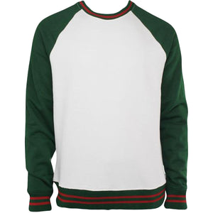 the white gucci colorway inspired jordan craig crewneck sweathirt has a white body, green sleves and ends with red accents