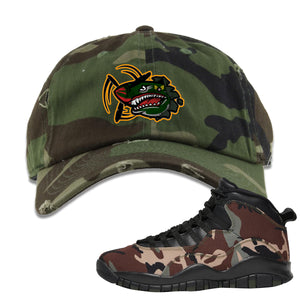 Jordan 10 Woodland Camo Sneaker Hook Up Air Plane Camouflage Distressed Dad Hat