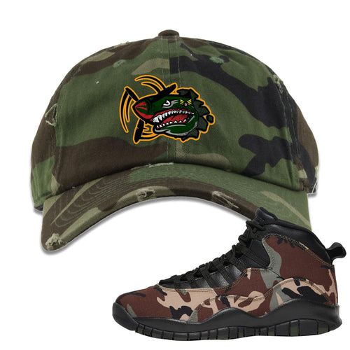 Jordan 10 Woodland Camo Sneaker Matching Air Plane Camouflage Distressed Dad Hat