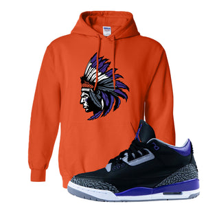 Air Jordan 3 Court Purple Hoodie | Indian Chief, Orange
