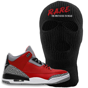 Jordan 3 Red Cement Ski Mask | Black, Rare