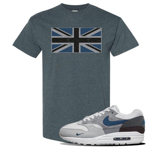 Air Max 1 'London City Pack' Sneaker Dark Heather T Shirt | Tees to match Nike Air Max 1 'London City Pack' Shoes | Union Jack Flag