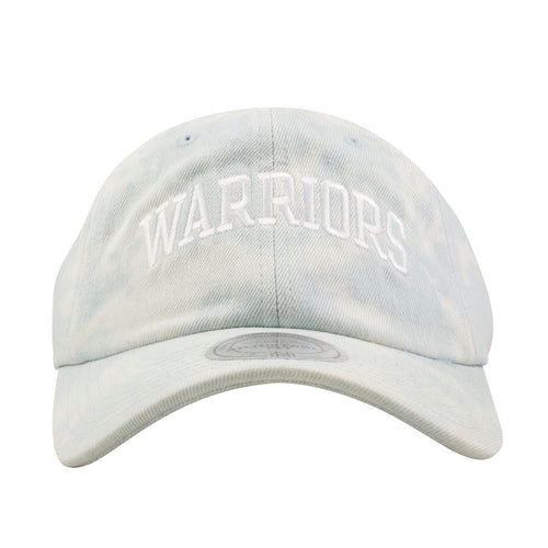 Embroidered on the front of the Golden State Warriors light denim washed dad hat is the Warriors lettering embroidered in white thread