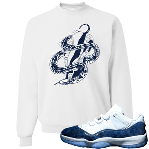 Jordan 11 Low Blue Snakeskin Snake Around Shoes White Crewneck Sweater