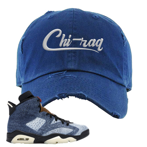 Air Jordan 6 Washed Denim Carp Pattern Navy Blue Sneaker Hook Up Distressed Dad Hat