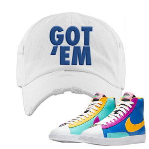 Blazer Mid Big Kids Distressed Dad Hat | White, Got Em