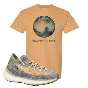 Yeezy Boost 380 Mist Sneaker Old Gold T Shirt | Tees to match Adidas Yeezy Boost 380 Mist Shoes | Covered In Mist