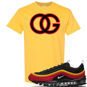 Air Max 97 Black/Chile Red/Magma Orange/White Sneaker Daisy T Shirt | Tees to match Nike Air Max 97 Black/Chile Red/Magma Orange/White Shoes | OG