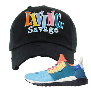 Foot Clan  Pharrel Williams X SolarHU Multicolor  Living Savage  Black  Distressed Dad Hat    Rock your favorite pair of kicks in style with this Pharrel Williams X SolarHU Multicolor Sneaker Black Distressed Dad Hat. The Living Savage logo on the front of this Pharrel Williams X SolarHU Multicolor Sneaker Black Distressed Dad Hat is what your sneaker matching outfit has been missing. Match your shoes today!