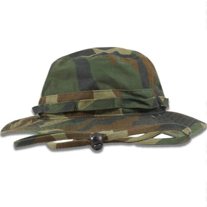 The camouflage boonie bucket hat is solid camouflage with an adjustable camouflage patterned drawstring
