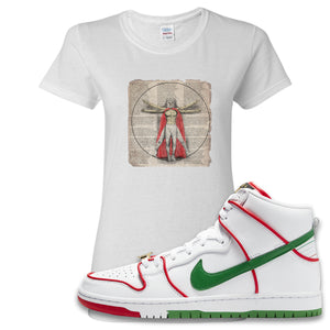 Paul Rodriguez's Nike SB Dunk High Sneaker White Women's T Shirt | Women's Tees to match Paul Rodriguez's Nike SB Dunk High Shoes | Luchador Davinci
