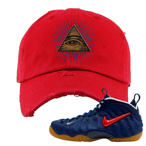 Air Foamposite Pro USA Distressed Dad Hat | Red, All Seeing Eye