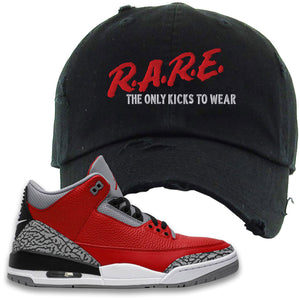Jordan 3 Red Cement Distressed Dad Hat | Black, Rare