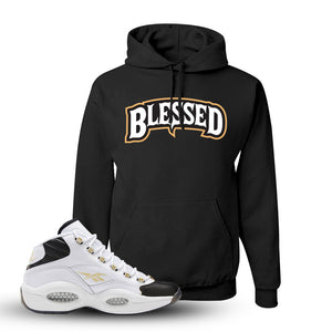Question Mid Black Toe Sneaker Black Pullover Hoodie | Hoodie to match Reebok Question Mid Black Toe Shoes | Blessed Arch