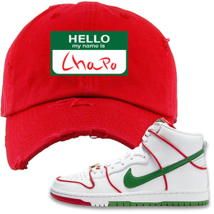 Paul Rodriguez's Nike SB Dunk High Sneaker Red Distressed Dad Hat | Distressed Dad Hat to match Paul Rodriguez's Nike SB Dunk High Shoes | Hello My Name Is Chapo