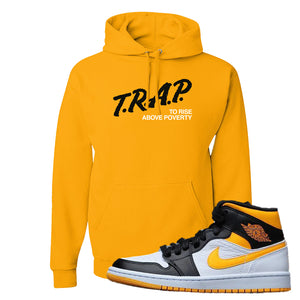 Air Jordan 1 Mid Varsity Yellow Black Hoodie | Gold, Trap To Rise Above Poverty