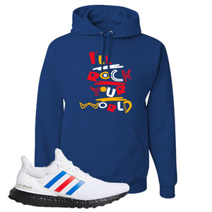 Ultra Boost White Red Blue Hoodie | Royal Blue, I'll Rock Your World