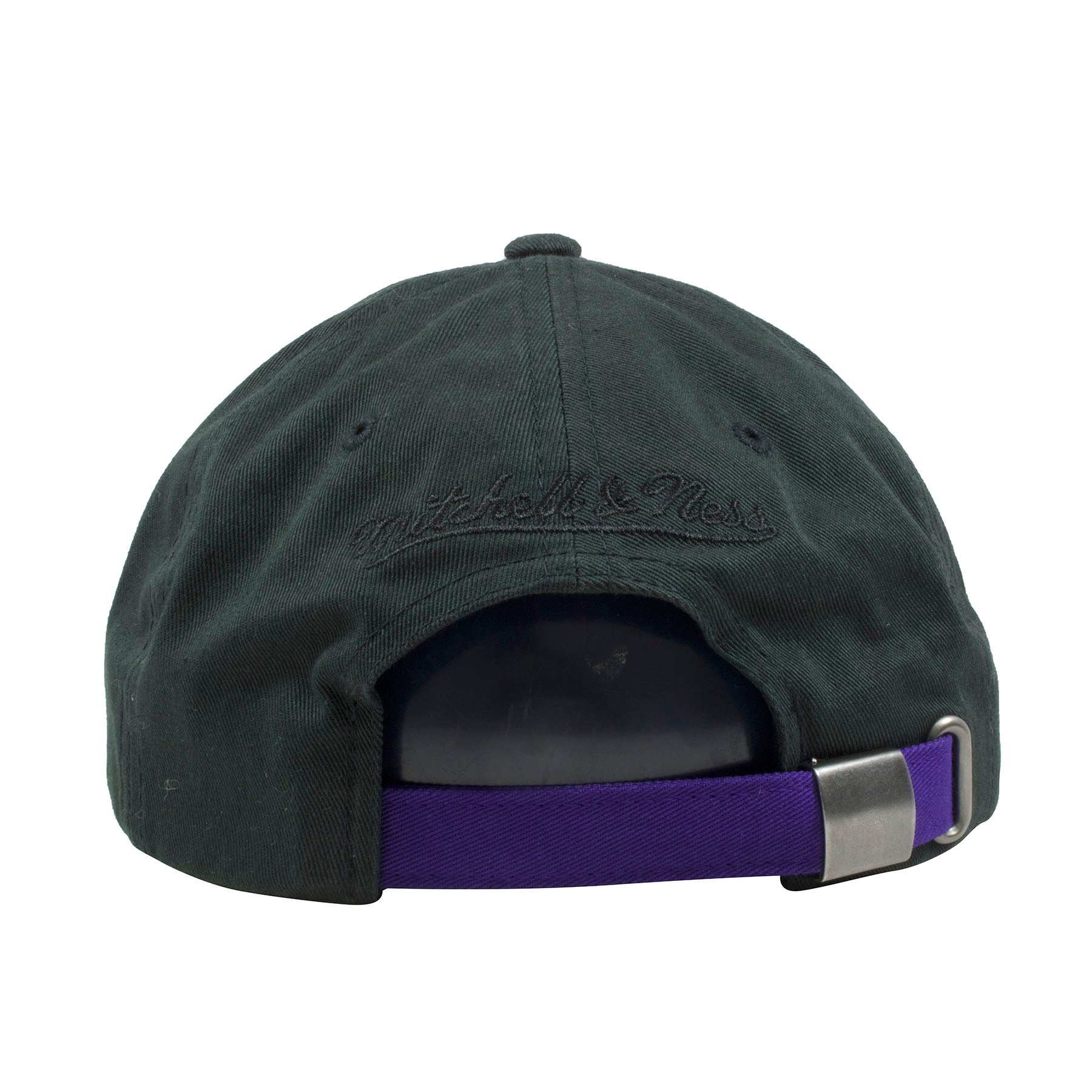 de178ff86c8 ... the back of the golden state warriors space jam 11 dad hat is a purple  adjustable