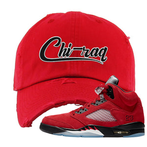 Air Jordan 5 Raging Bull Distressed Dad Hat | Chiraq, Red