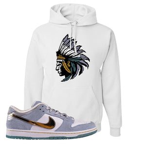 Sean Cliver x SB Dunk Low Hoodie | Indian Chief, White