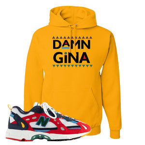 Aime Leon Dore X New Balance 827 Abzorb Multicolor 'Red' Hoodie | Gold, Damn Gina