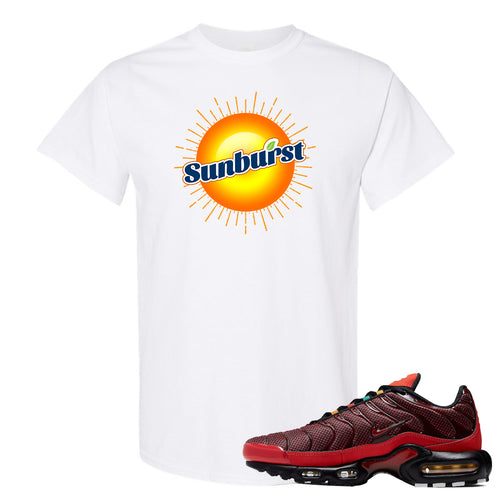 printed on the front of the air max plus sunburst sneaker matching white tee shirt is the sunburst soda logo