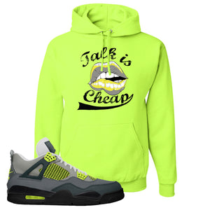 Jordan 4 Neon Sneaker Safety Green Pullover Hoodie | Hoodie to match Nike Air Jordan 4 Neon Shoes |  Talk Is Cheap