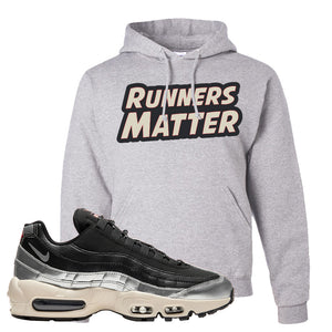 3M x Nike Air Max 95 Silver and Black Pullover Hoodie | Runners Matter, Ash
