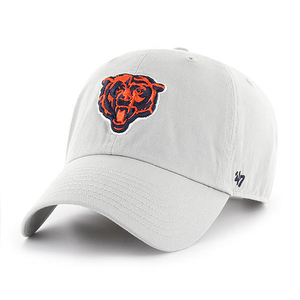 Embroidered on the front of the Chicago Bears gray dad hat is the Chicago Bears logo embroidered in orange and navy blue with the '47 brand logo embroidered on the left side